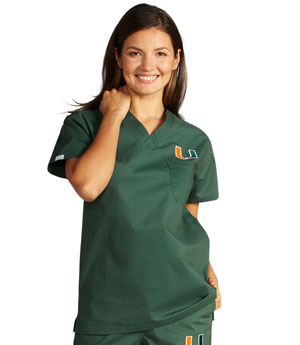 University of Miami Unisex College Scrub Top 5450